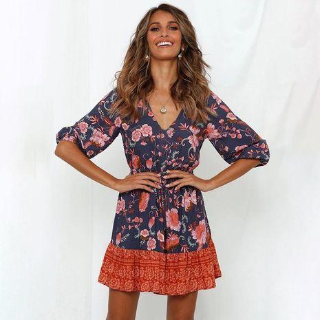 Bohemia vestido de mujer con costuras a media manga con cuello en V primavera y verano nueva ropa de mujer NHDF198005's discount tags