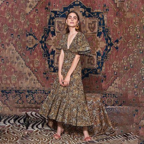 Vestido delgado de mujer con mangas de murciélago leopardo con cuello en V profundo vestido delgado NHDF198009's discount tags