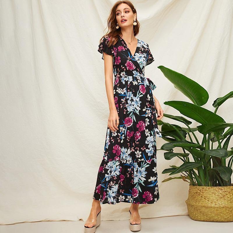 Summer Bohemian Women's Lace Up High Waist Ruffle Sleeve V-Neck Print Dress NHDF198010
