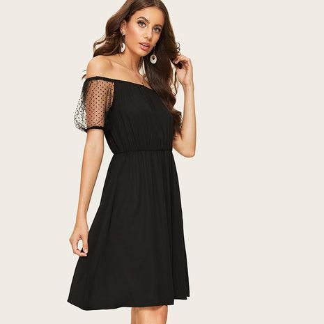 Three-dimensional messy sleeves tube top high waist mid-length dress dress skirt collar dress women NHDF198011's discount tags