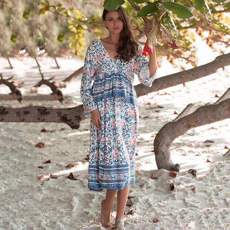 Vestido de cintura alta estampado con cuello en V y estampado suelto de gran tamaño para mujer NHDF198013's discount tags