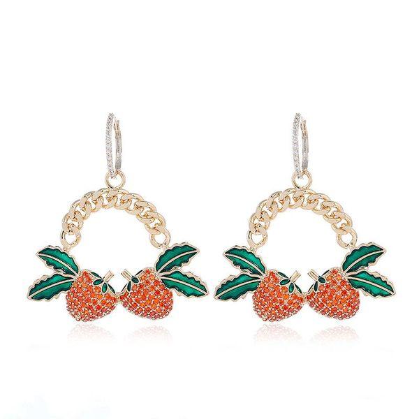 Pendientes simples de moda para mujer pendientes de círculo de fruta de oro de gama alta al por mayor NHKQ196492