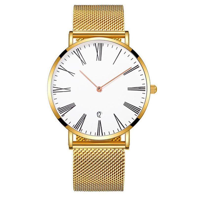 New Watch Khorasan Men's Roman Scale Casual Calendar Alloy Mesh Watch Quartz Watch NHHK197936