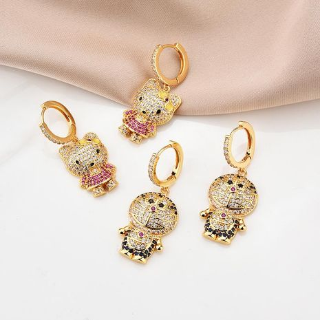 Cute jewelry 18K gold cat micro inlaid color zircon earrings for women NHBR198105's discount tags