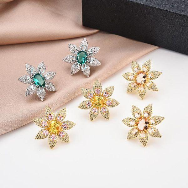 Fashion S925 Silver Stud Earrings Flower Wedding Stud Earrings with Colored Cubic Zirconia Earrings NHBR198109