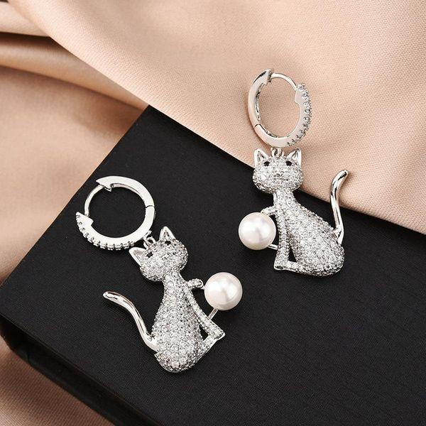 Fashion Wild Cute Cat Pearl Zircon Earrings Wholesale NHBR198116