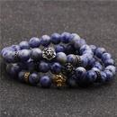 Fashion stainless steel lion head bracelet natural white dot blue stone beaded men and women bracelet NHYL198128