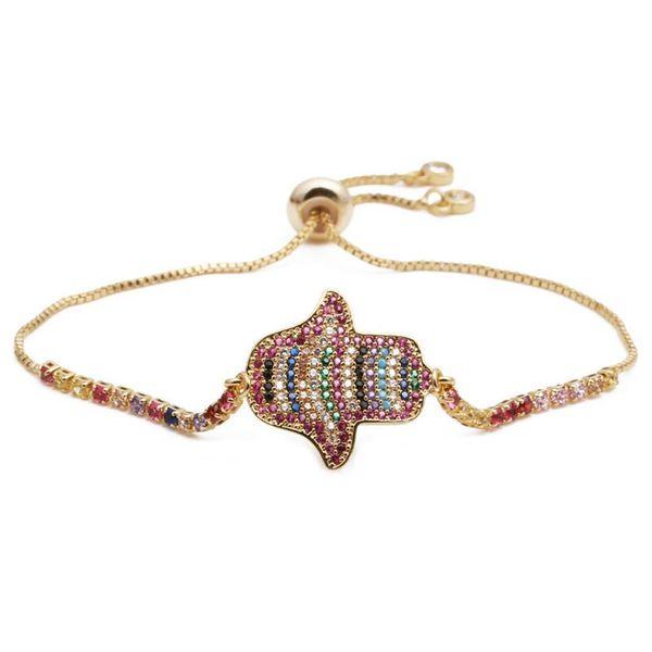 Devil Eye Bracelet Copper Micro Inlaid Zircon Valentine's Day Palm NHYL198131