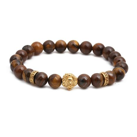 Fashion stainless steel lion head bracelet tiger's eye beaded male bracelet NHYL198134's discount tags