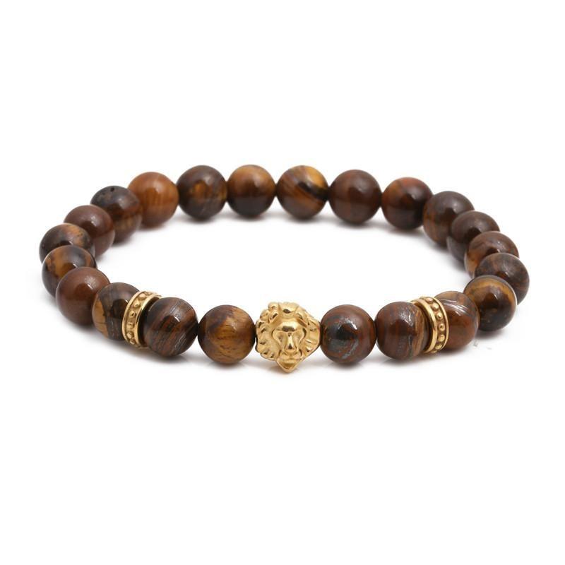 Fashion stainless steel lion head bracelet tiger's eye beaded male bracelet NHYL198134