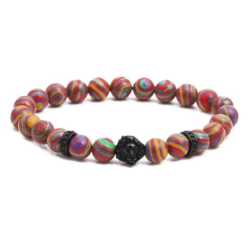Fashion stainless steel lion head bracelet colorful malachite beaded men39s bracelet NHYL198135