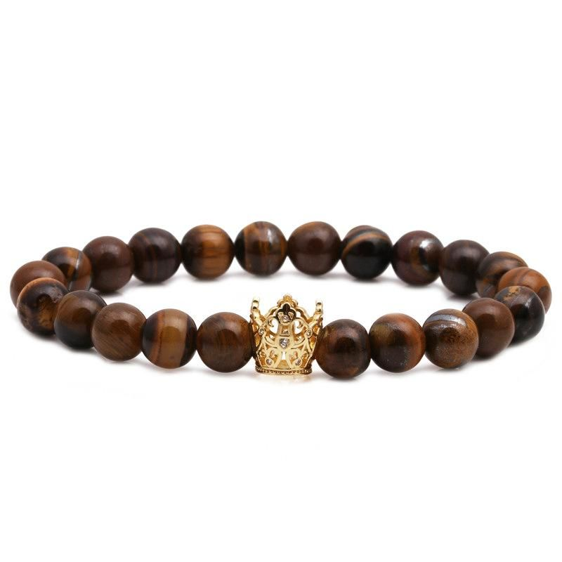 Fashion Copper Crown Beaded Bracelet Tiger Eye Volcanic Stone Crown Bracelet NHYL198137