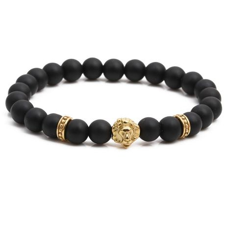 Fashion stainless steel lion head bracelet black frosted beaded men's bracelet NHYL198138's discount tags