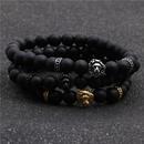 Fashion stainless steel lion head bracelet black frosted beaded men39s bracelet NHYL198138