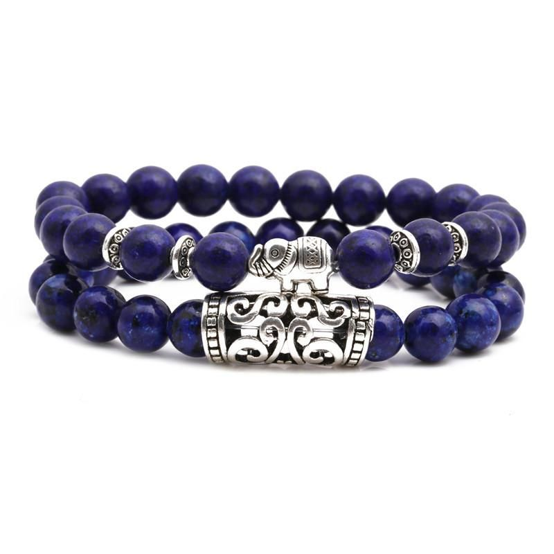 Fashion Blue Point Stone Owl Buddha Head Elbow Set Bracelet Lion Head Elephant Beaded Bracelet NHYL198140