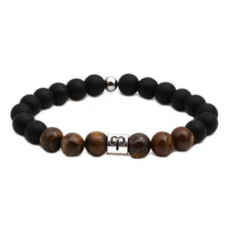 Fashion Tiger Eye Beaded Black Frosted Bracelet DIY Couple Bracelet NHYL198142's discount tags