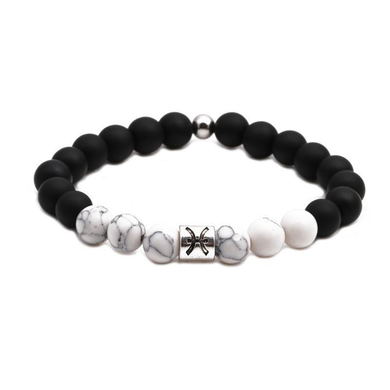 Fashion White Turquoise Beaded Black Frosted Bracelet DIY Couple Bracelet NHYL198143