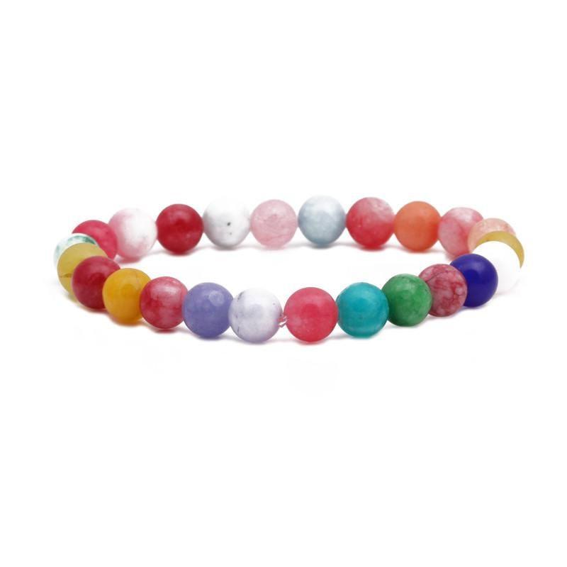 Fashion 8MM Beaded Natural Stone Bracelet Color Mixed Color Elastic String Beaded Bracelet NHYL198144