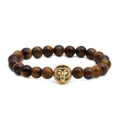 Fashion Tiger Eye Beaded DIY Lion Head Bracelet White Turquoise Lion Head Bracelet NHYL198146's discount tags