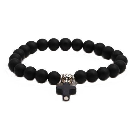 Fashion Black Matte Beaded DIY Bracelet Cross Pendant Men's Bracelet NHYL198148's discount tags