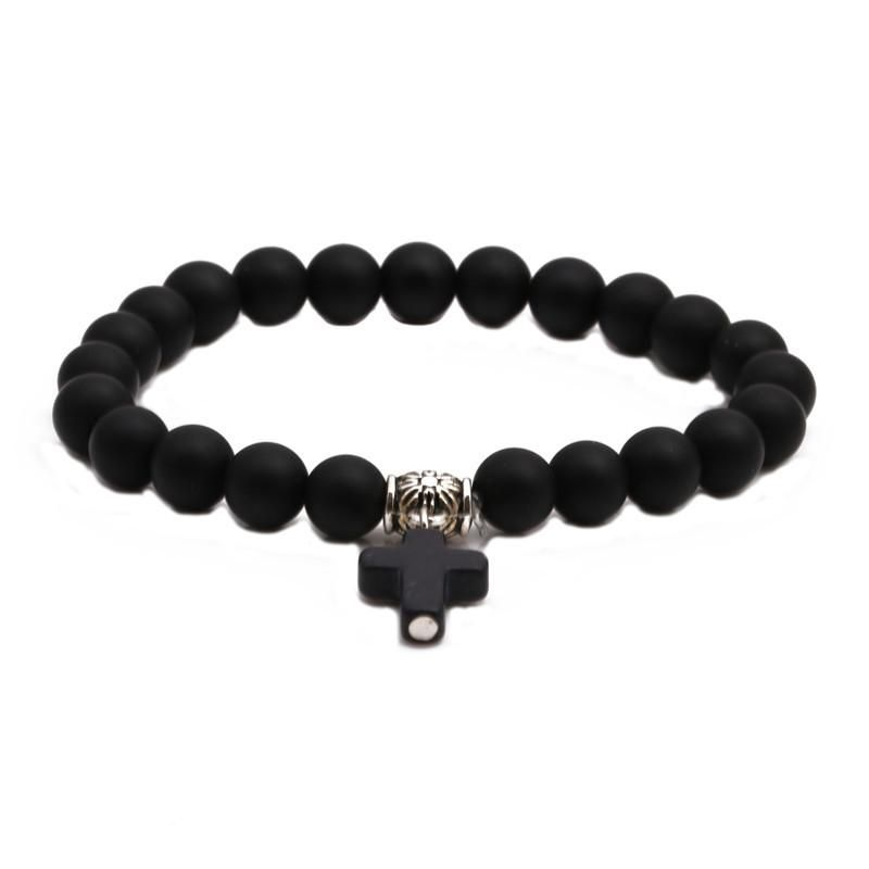 Fashion Black Matte Beaded DIY Bracelet Cross Pendant Men's Bracelet NHYL198148