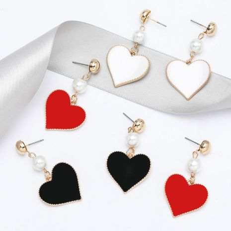 Fashion new string pearl alloy drip oil love heart-shaped earrings for women NHJE198149's discount tags
