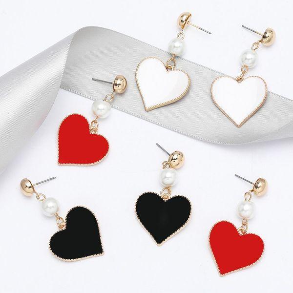Fashion new string pearl alloy drip oil love heart-shaped earrings for women NHJE198149