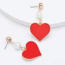 Fashion new string pearl alloy drip oil love heartshaped earrings for women NHJE198149