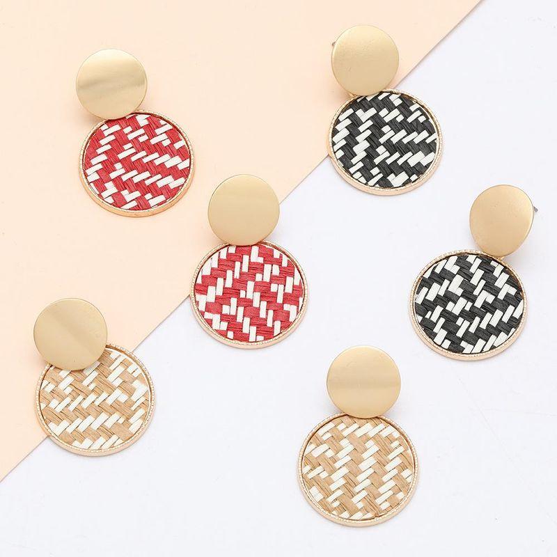 Fashion earrings new fashion multilayer round alloy rattan earrings for women NHJE198150