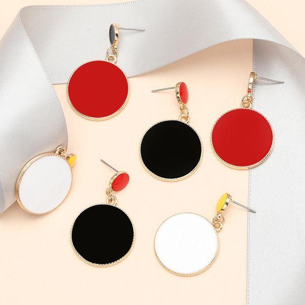 Fashion earrings multilayer size round alloy drip oil geometric earrings women NHJE198151