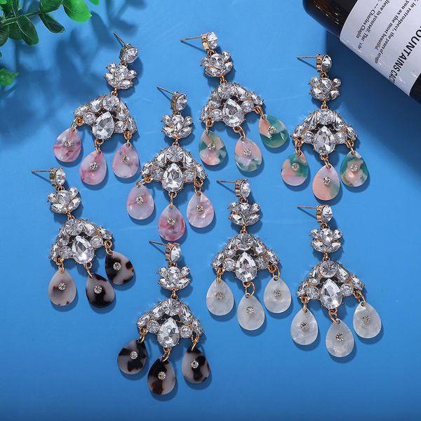 Pendientes de diamantes de aleación de gota de agua Boho de moda Pendientes de placa de acetato exagerada NHJQ198157