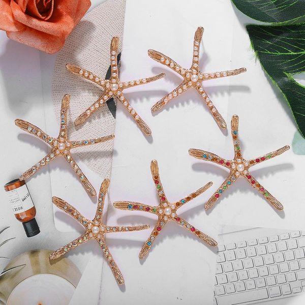 Pendientes de estrella de mar de diamantes de estilo de vacaciones de moda pendientes de moda de mujer al por mayor NHJQ198161