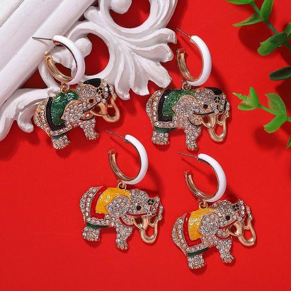 Fashion Painted Elephant Earrings Fine Enamel Diamond Earrings Wholesale NHJQ198164