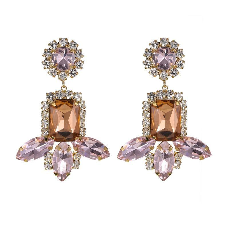Fashion Pink Gemstone Tassel Earrings New Earrings Wholesale NHZU198165