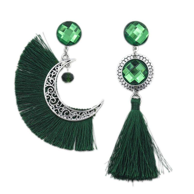 Fashion Green Tassel Irregular Earrings Wholesale NHZU198167