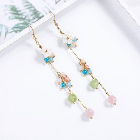 Fashion long exaggerated shell flower stone earrings earrings vacation style earrings women NHQD198171's discount tags