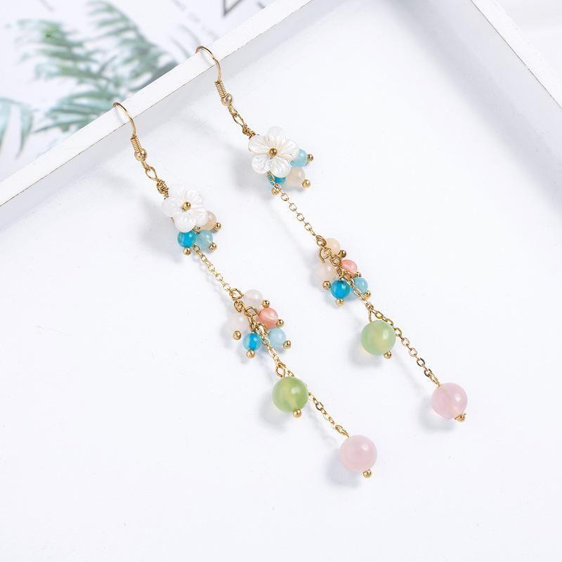 Fashion long exaggerated shell flower stone earrings earrings vacation style earrings women NHQD198171