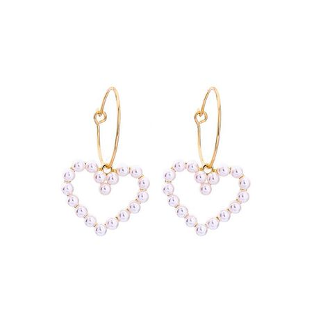Fashion alloy ring earrings fashion simple heart-shaped pearl earrings NHQD198172's discount tags