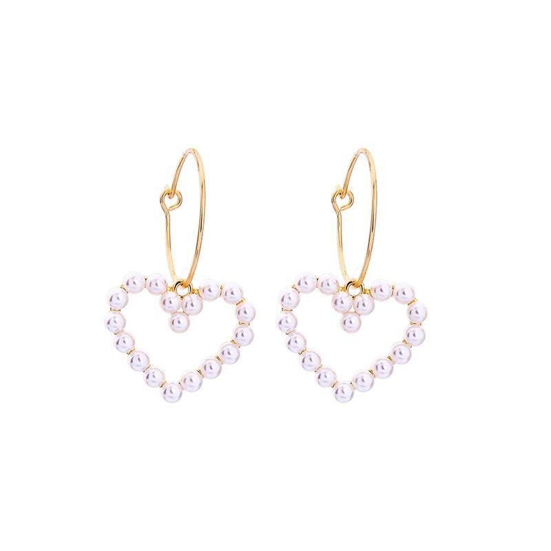 Fashion alloy ring earrings fashion simple heart-shaped pearl earrings NHQD198172
