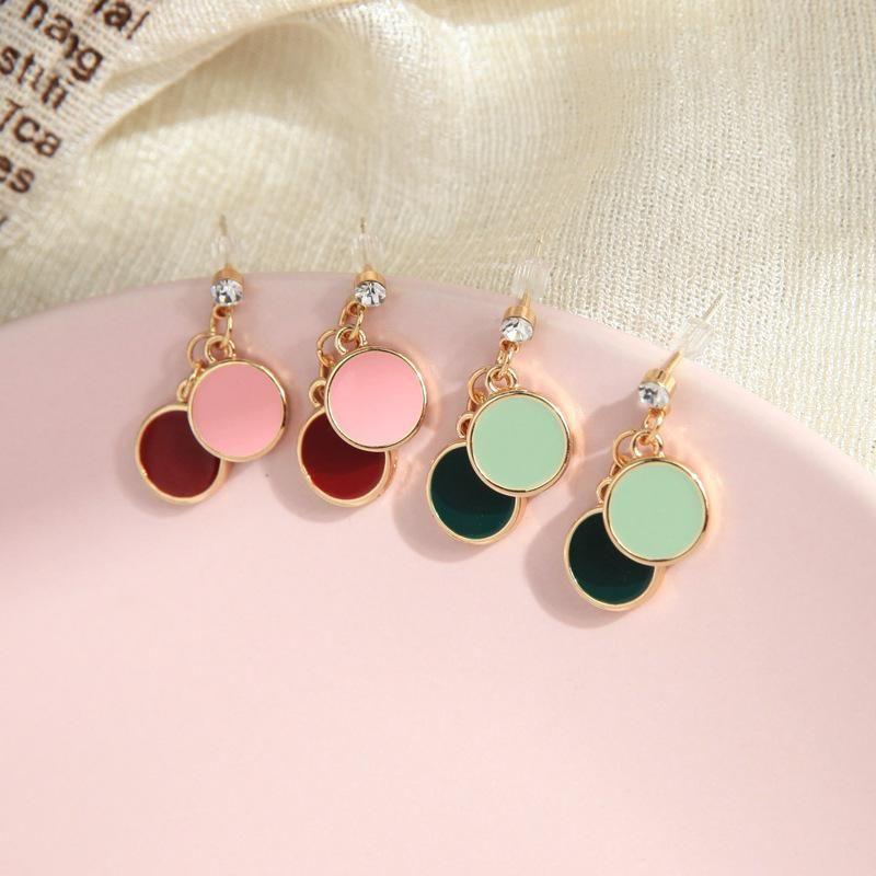 Simple earrings s925 silver pin small enamel glaze earrings wild ring earrings wholesale NHQD198177