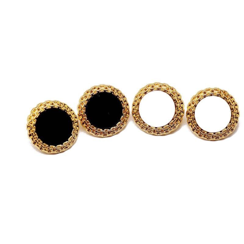 Fashion Black White Round 925 Silver Stud Earrings Bump Edge Alloy Stud Earrings NHOM198183