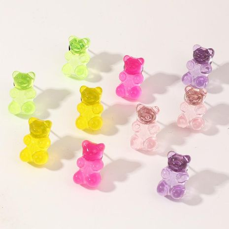 Fashion candy color bear earrings set transparent resin earrings women NHNZ198184's discount tags