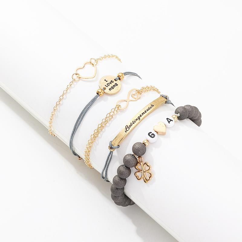 Fashion New Accessories Fashion Creative Letter Love Heart Bracelet Set of 5 NHNZ198185