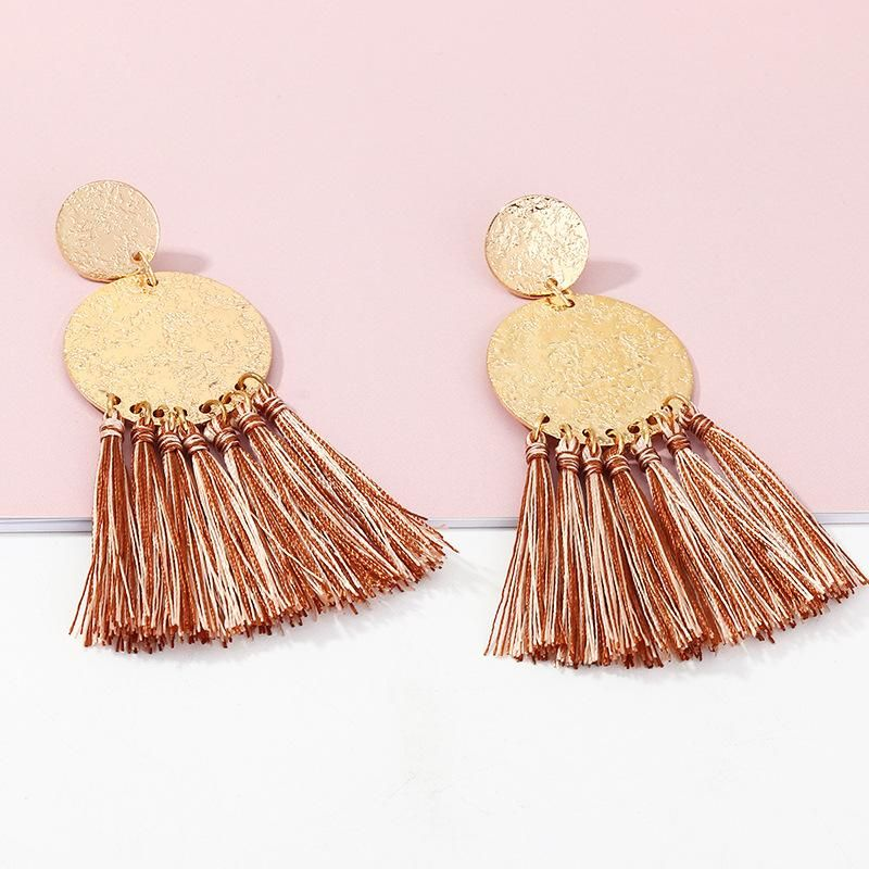 Retro fashion geometric double round earrings female boho tassel earrings NHNZ198188