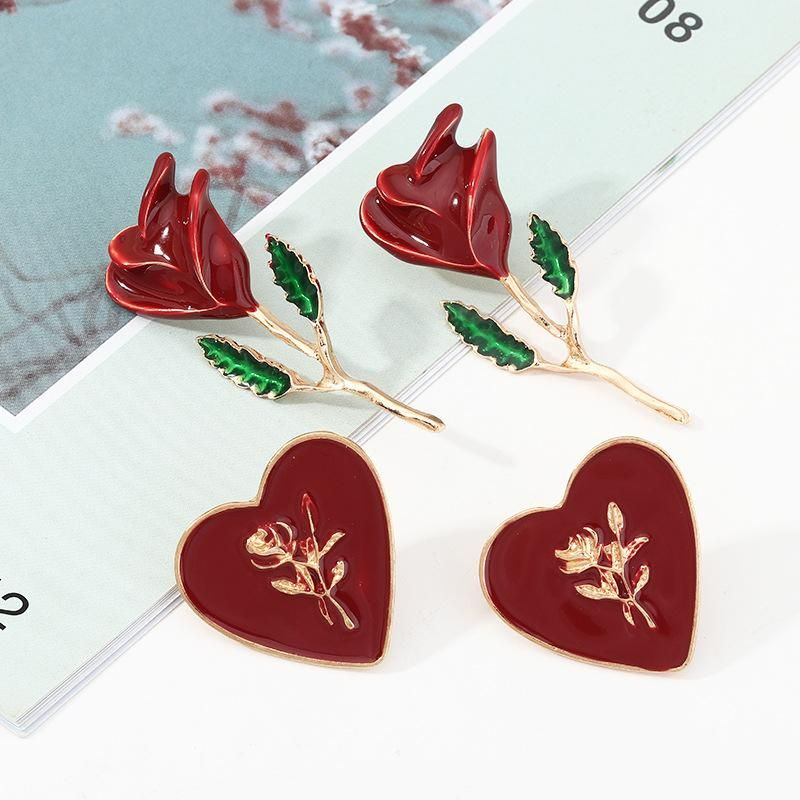 Vintage Red Love Earrings Drop Oil Rose Earrings 2 Pair Set NHNZ198189