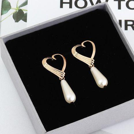 Temperament Fashion Alloy Hollow Love Earrings Long Pearl Earrings Women NHNZ198191's discount tags