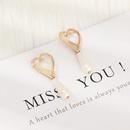 Temperament Fashion Alloy Hollow Love Earrings Long Pearl Earrings Women NHNZ198191