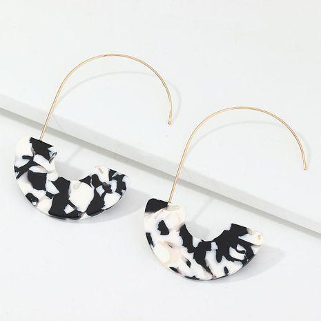 Fashion retro geometric u-shaped earrings black and white acetate plate earrings earrings NHNZ198192's discount tags
