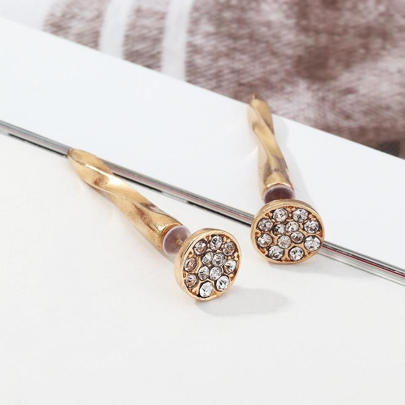 Retro Fashion Zirconia Diamond Nail Studs Exaggerated Geometric Round Earrings NHNZ198196