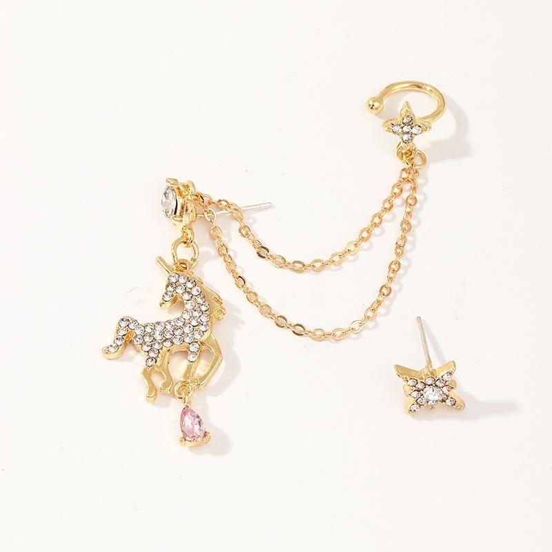 Fashion popular zircon unicorn earrings long fringed pony ear clip NHNZ198198